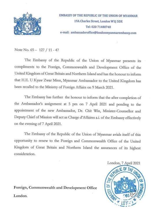 缅甸新任大使接管驻英使馆 具体是什么情况?