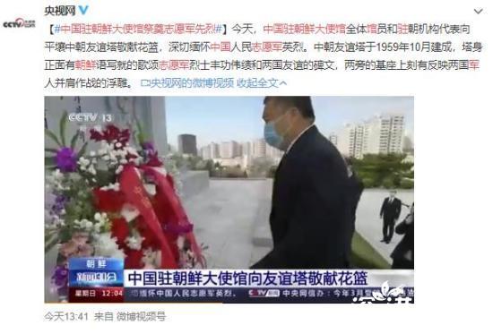 中国驻朝鲜大使馆祭奠志愿军先烈 场面令人动容!
