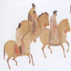 骑马的贵妇和小女孩