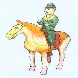 唐三彩骑马俑