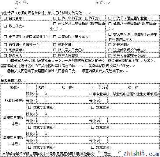 上海中考知识点_上海高考志愿表样本 - 高考知识 - www.zhishi5.com
